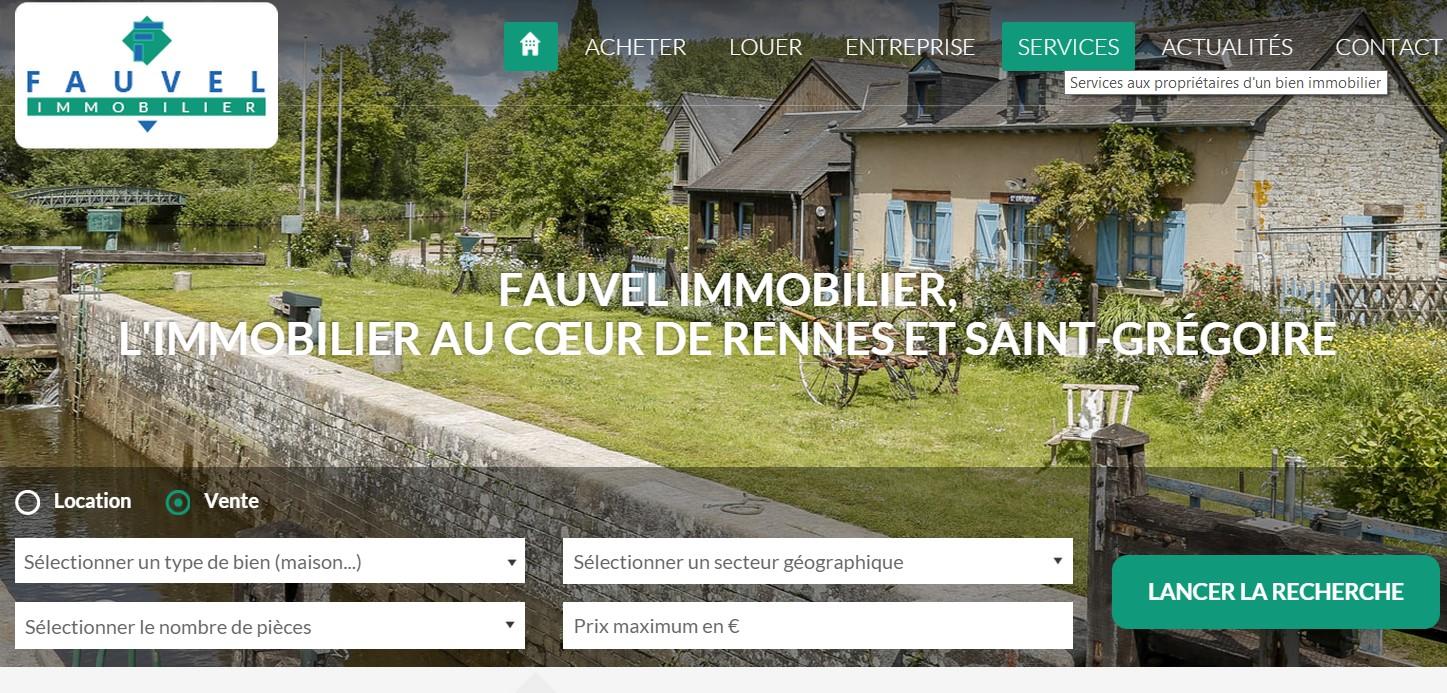 Copie d'écran site internet Fauvel immobilier